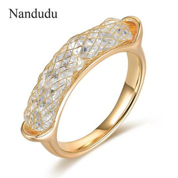 Nandudu Wire Mesh Austrian Crystal Net Ring  Women Party Cocktail Ring New Style Fashion Jewelry Gift R1203