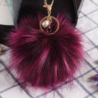 10CM Fluffy High Quality Faux Raccoon Fur Keychain Pompom Ball