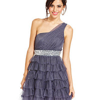 Trixxi Juniors Dress, Sleeveless Glittered Tiered One-Shoulder - Juniors Homecoming Dresses - Macy's