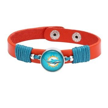 10pcs/lot! Adjustable Premium Leather Ginger Snaps Bracelet with a Miami Dolphins 18mm Snap  for Men,Women and Teens