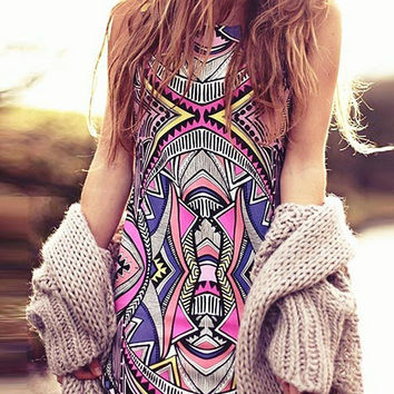 Multicolor Folk Print Sleeveless Dress