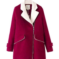 Long Sleeve Collar Coat with Zipper