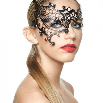 Phantom Of The Opera Half Mask Clear Rhinestones Black