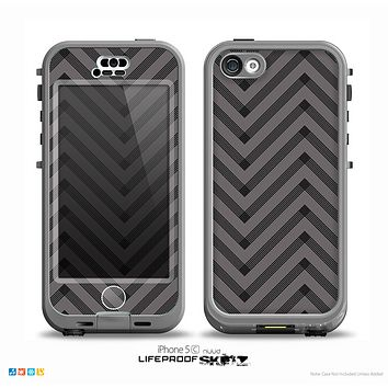The Gray & Black Sketch Chevron Skin for the iPhone 5c nüüd LifeProof Case