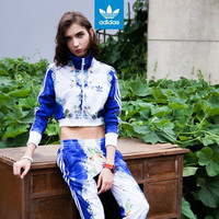 """Adidas"" Women Sports Casual Multicolor Fruit Print Long Sleeve Zip Jacket Short Coat Sportswear"