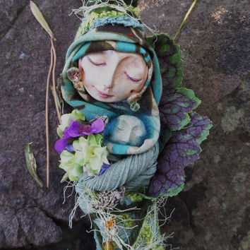 Ostara Goddess of renewal.   Assemblage Bohemian Eco Botanical Art Doll by Griselda