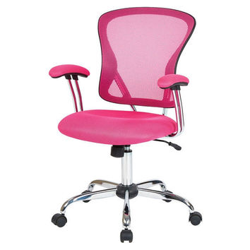 Amazing Modern Pink High Back Mesh Office Chair With Carpet Casters