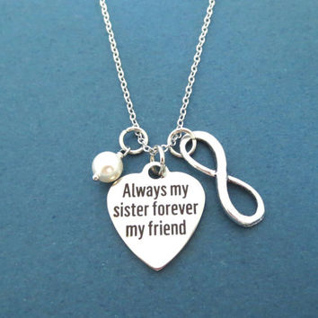 Always my sister forever my friend, Infinity, Sign, White, Pearl, Heart, Silver, Necklace, Sister, Friends, Love, Gift, Jewelry