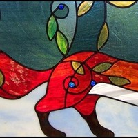 Custom Order Red Fox in Blueberry Patch with Early Snow Folkart Stained Glass