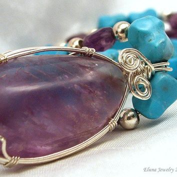 Ametrine Pendant with Turquoise Amethyst and by ElunaJewelry