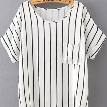 Black and White Short Sleeve Pinstripe Pocket Shirt