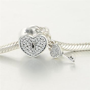 Pure 925 Sterling Silver Jewelry Charms CZ Stones Lock & Key Fits European Bracelets & Snake Chain Silver DIY Fine Jewelry
