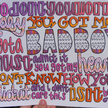The Way Lyric Drawing by TaylorandEmilysEtsy on Etsy