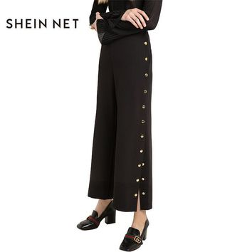Sheinnet Apparel Solid Black Brief Women Pant Single Breasted Vintage Women Bottoms Side Split Loose Casual Female Pants