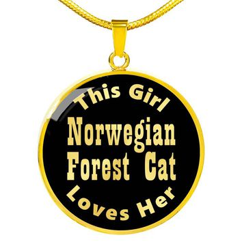Norwegian Forest Cat - 18k Gold Finished Luxury Necklace