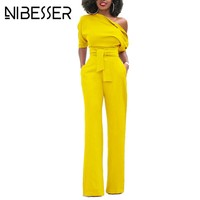 NIBESSER Jumpsuits Women Romper Overalls Sexy One Shoulder Jumpsuit Rompers