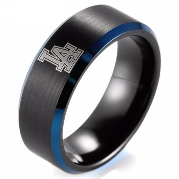 Black Beveled Blue Two-Toned Tungsten Carbide MLB Baseball Los Angeles Dodgers Ring for Men