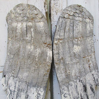 Distressed angel wings wall hanging wood and metal French farmhouse gray and white rusty shabby wing set home decor anita spero design