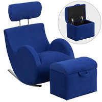 Flash Furniture HERCULES Series Blue Fabric Rocking Chair with Storage Ottoman [LD-2025-BL-GG]