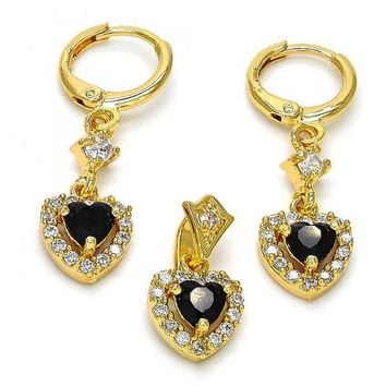 Gold Layered Earring and Pendant Adult Set, Heart Design, with Cubic Zirconia, Golden Tone