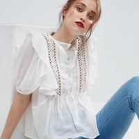 ASOS Ruffle Blouse with Eyelet Detail and Lace Insert at asos.com