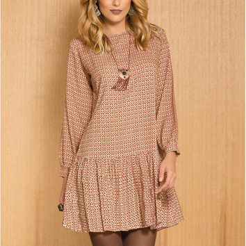 Khaki Long Sleeve Printed Ruffled Dress