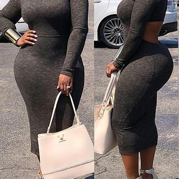 New Black Cut Out Irregular Bodycon Backless Long Sleeve Band Collar Casual Office Worker Maxi Dress