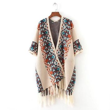 Autumn Women Ethnic Jacquard Knitted Cardigan Sweater Hem Tassel V Neck Shawl Poncho European Style Oversized Outerwear