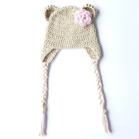 Crochet Bear Ear Flap Hat Pattern Crochet Pattern Newborn Bear Hat Baby Girl Hat Baby Ear Flap Hat Photoprop Toddler Hat Earflaps Pattern