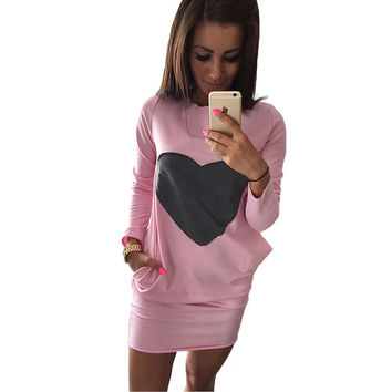 Women Autumn Winter Dress 2016 Fashion Heart Patchwork Dresses Sexy Long Sleeve Elegant Pink Sweatshirt Dresses With Pockets