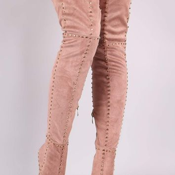 Studded Suede Pointy Toe Stiletto Over-The-Knee Boots