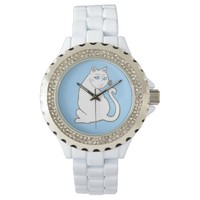 White Cat with Blue Eyes Wristwatch