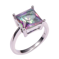 Classic Style Rose Rainbow Topaz 925 Sterling Silver Wedding Party Fashion Design Romantic Ring  Size 5 6 7 8 9 10 11 12