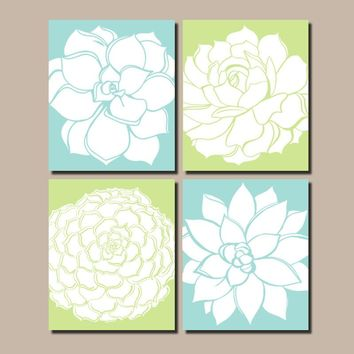 Succulent Wall Art, CANVAS or Prints, Floral Wall Art, Botanical Artwork, Wall Decor, Flower Wall Art, Floral Bathroom Art, Set of 4