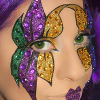 Mardi Gras Glitter Face Stickers and Lips