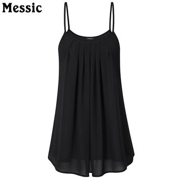 Casual Sleeveless Tunic Chiffon Tank Top Women Double Layer Long Tops Summer Ruched Pleated Camisole Vest