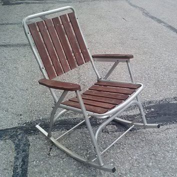 Vintage Folding Aluminum Rocking Chair with Redwood Slats