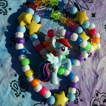 Rainbow Dash MLP Inspired Kandy Necklace Rainbow Stars Stretch Jewelry