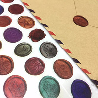wax seal stamp washi tape 5m x 2cm classic wax seal pattern crown star colorful wax masking sticker tape envelope seal melted wax seal decor