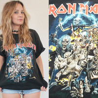 Vintage 90s Iron Maiden Faded Rock Tee | Thin Soft Grunge Biker T-Shirt Distressed Black Worn In Trashed Rock and Roll 1996 Band Tee
