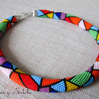 Colourful Geometry Bead Crochet Necklace and Bracelet