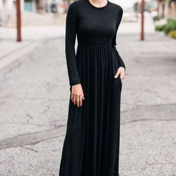 Long sleeve flowy high waist maxi dress