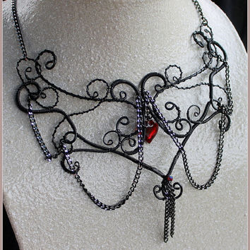 Wire Art Necklace, Self Representing Artist, Goth Black Wire Necklace, Wire Art Jewelry Handmade Wire Jewelry, Red Heart, Bib Necklace