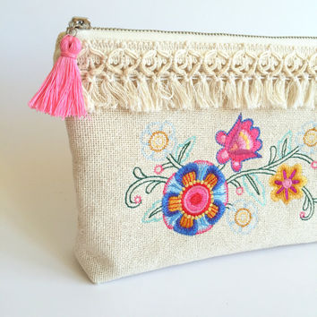 Bohemian Floral Clutch Bag,Burlap Make up bag,Embroidered Clutch,Embroidered cosmetic bag,Boho Clutch bag,Floral Clutch,Bohemian Clutch
