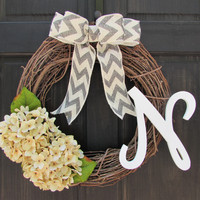 Monogram Grapevine Wreath with Cream Hydrangeas