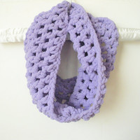 Chunky Crochet Cowl Scarf Neck Warmer in Lavender Pastel, ready to ship.