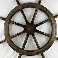 Antique Large Eight Spoke Wood Ships Wheel