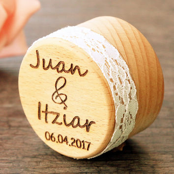 Personalized Gift Rustic Wedding Ring Bearer Box Laser Engraved Custom Jewelry Wood Wedding Ring Box with Lace Gift for Her