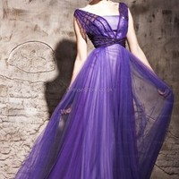 A-line Straps Tulle Floor-length Purple Beading Evening Dress at dressestore.co.uk