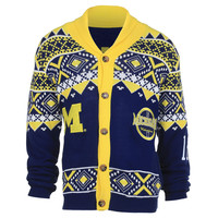 University of Michigan Wolverines KLEW Ugly Cardigan Sweater Mens Sizes M-XXL w/ Priority Shipping